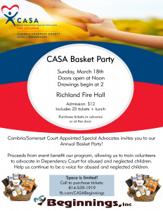CASA Basket Party @ Richland Fire Hall | Johnstown | Pennsylvania | United States